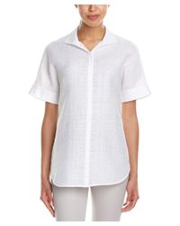 Lafayette 148 New York   White Marlis Linen-blend Blouse   Lyst