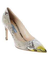 Prada - Multicolor Bi-color Python Ankle-strap Pumps - Lyst