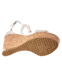 Jimmy Choo - White Portia 120 Fabric And Leather Wedge Sandal - Lyst