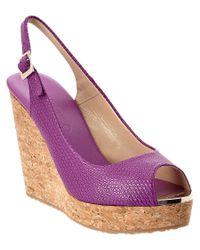 Jimmy Choo - Purple Prova Embossed Leather Wedge Sandal - Lyst