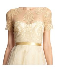 Notte by Marchesa - Natural Metallic Lace Tulle Short Sleeve Dress - Lyst