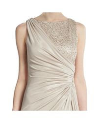 Adrianna Papell - Multicolor Metallic Lace Ruched Satin Evening Gown - Lyst