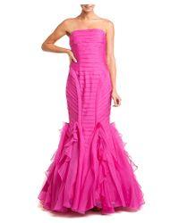 THEIA - Enchanting Pink Organza Strapless Mermaid Silk Evening Gown - Lyst