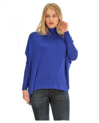 Fashion Club USA   Blue Long Sleeve Turtle-neck Dolman Tunic Top   Lyst