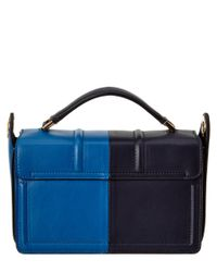 Lanvin - Blue Jiji Small Bi-Colored Leather Shoulder Bag - Lyst