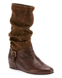Stuart Weitzman | Brown Ludlow Canvas and Leather Knee Boots | Lyst