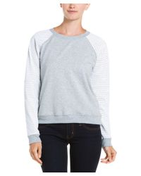 Aiko - Gray Lycia Heather Grey And Optic Leather Sleeve Sweatshirt - Lyst