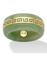 "Palmbeach Jewelry - Genuine Green Jade 14k Yellow Gold \""greek Key\"" Ring - Lyst"
