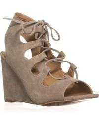 Steve Madden - White Whistler Peep-toe Wedge Pumps, Taupe Suede - Lyst