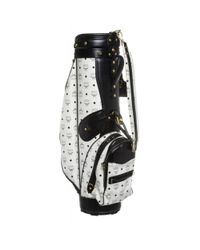 MCM - Pre Owned- White Leather Monogram Blue Trim Golf Bag for Men - Lyst