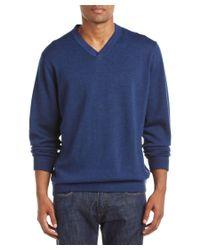 Robert Graham | Blue Newcastle Classic Fit Wool V-neck Sweater for Men | Lyst