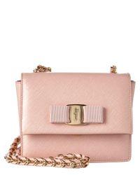 Ferragamo - Pink Ginny Mini Vara Leather Flap Bag - Lyst