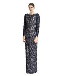 Aidan Mattox | Blue Beaded Lace Column Evening Gown | Lyst