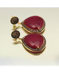 Blue Candy Jewelry - Purple Pave Diamond Ruby Teardrop Earrings - Lyst