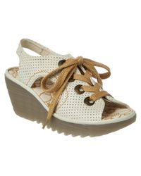 Fly London - White Ylva Perforated Leather Wedge - Lyst