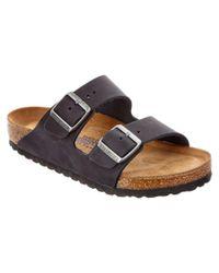 Birkenstock   Black Arizona Soft Footbed Leather Sandal   Lyst