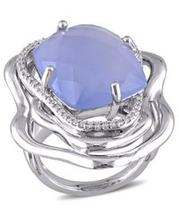 Catherine Malandrino | Metallic Blue Agate And Diamond Ring In Sterling Silver | Lyst