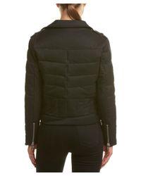 The Kooples - Green Leather-trim Wool-blend Biker Down Jacket - Lyst