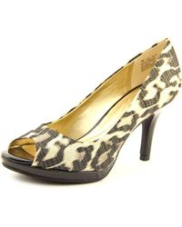 Bandolino - Metallic Supermodel Peep-toe Canvas Heels - Lyst