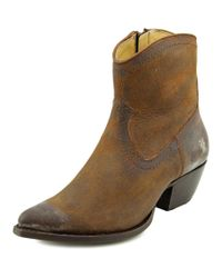 Frye | Sacha Short Boot Women Round Toe Leather Brown Ankle Boot | Lyst