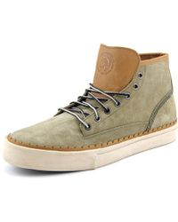 DIESEL | Gray The Pager Watchu Men Round Toe Leather Sneakers for Men | Lyst