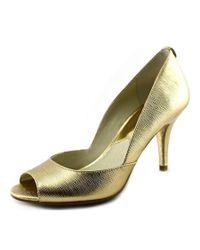 MICHAEL Michael Kors | Metallic Nathalie Open Toe Open-toe Leather Heels | Lyst