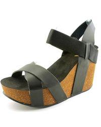 MIA | Joy Women Open Toe Synthetic Black Wedge Sandal | Lyst