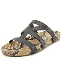 Via Spiga   Londa Women Open Toe Leather Black Slides Sandal   Lyst