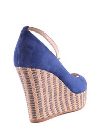 Tod's - Women's Mcbi293071o Blue Suede Wedges - Lyst