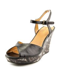 Nine West - Black Big Easy Open Toe Leather Wedge Sandal - Lyst