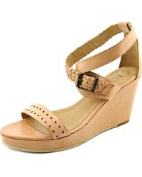 DIESEL | Natural Domey Women Open Toe Leather Wedge Sandal | Lyst