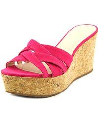kate spade new york - Talcott Women Open Toe Leather Pink Wedge Sandal - Lyst