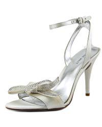 Nine West | Sweeti Women Open-toe Canvas White Heels | Lyst