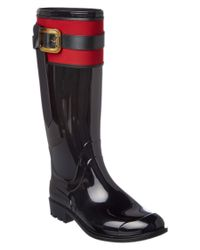 Burberry | Black Wallswood Belted Equestrian Rain Boot | Lyst