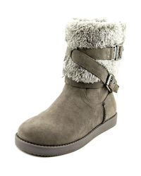G by Guess | Gray Azzie Round Toe Canvas Winter Boot | Lyst