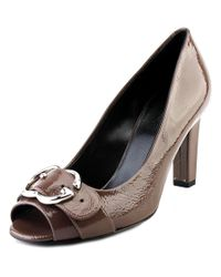 Gucci | Brown Sachalin Pump Peep Toe Women Peep-toe Patent Leather Heels | Lyst