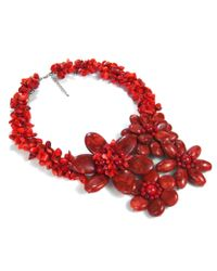 Aeravida - Bold Large Reconstructed Red Coral Flower Garland .925 Silver Necklace - Lyst