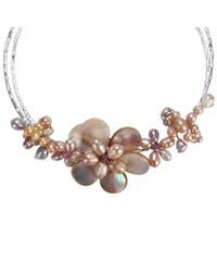 Aeravida | Pink Gradual Flower Cultured Freshwater Pearl Cluster Choker Wire Wrap Necklace | Lyst