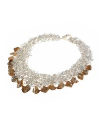 Aeravida - Multicolor Natural Stone And Seashells Cluster Stone Toggle Necklace - Lyst