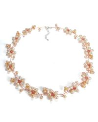Aeravida - Pink Intricate Cultured Freshwater Pearl Flower Link .925 Silver Necklace - Lyst