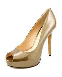 Vince Camuto | Metallic Lorimina Open Toe Patent Leather Platform Heel | Lyst