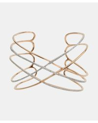 Socheec   Metallic Open Back Criss Cross Gold And Pave Diamond Cuff   Lyst