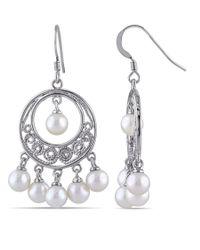 Catherine Malandrino   Metallic White Freshwater Cultured Pearl Chandelier Earrings   Lyst