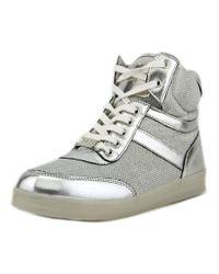 Bebe | Metallic Krysten Women Round Toe Synthetic Silver Sneakers | Lyst