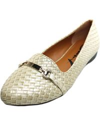 7 For All Mankind | White Gigi Buckle Women Round Toe Canvas Flats | Lyst