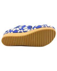 Alice + Olivia - Blue Brianna Open Toe Leather Slides Sandal - Lyst