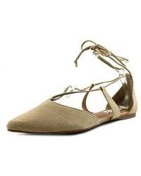 Steve Madden | Natural Britzi Women Pointed Toe Suede Flats | Lyst