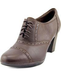 Clarks | Brynn Marina Women Round Toe Leather Brown Oxford | Lyst
