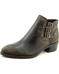 Frye | Black Ray Belted Bootie Women Round Toe Leather Bootie | Lyst
