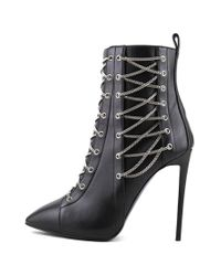 Giuseppe Zanotti - Black Olinda 110 Lace Up Women Pointed Toe Leather Bootie - Lyst